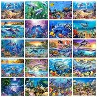 diamond painting dolphin sea full squareround diamond art poster marine life cross stitch embroidery kits home decoration