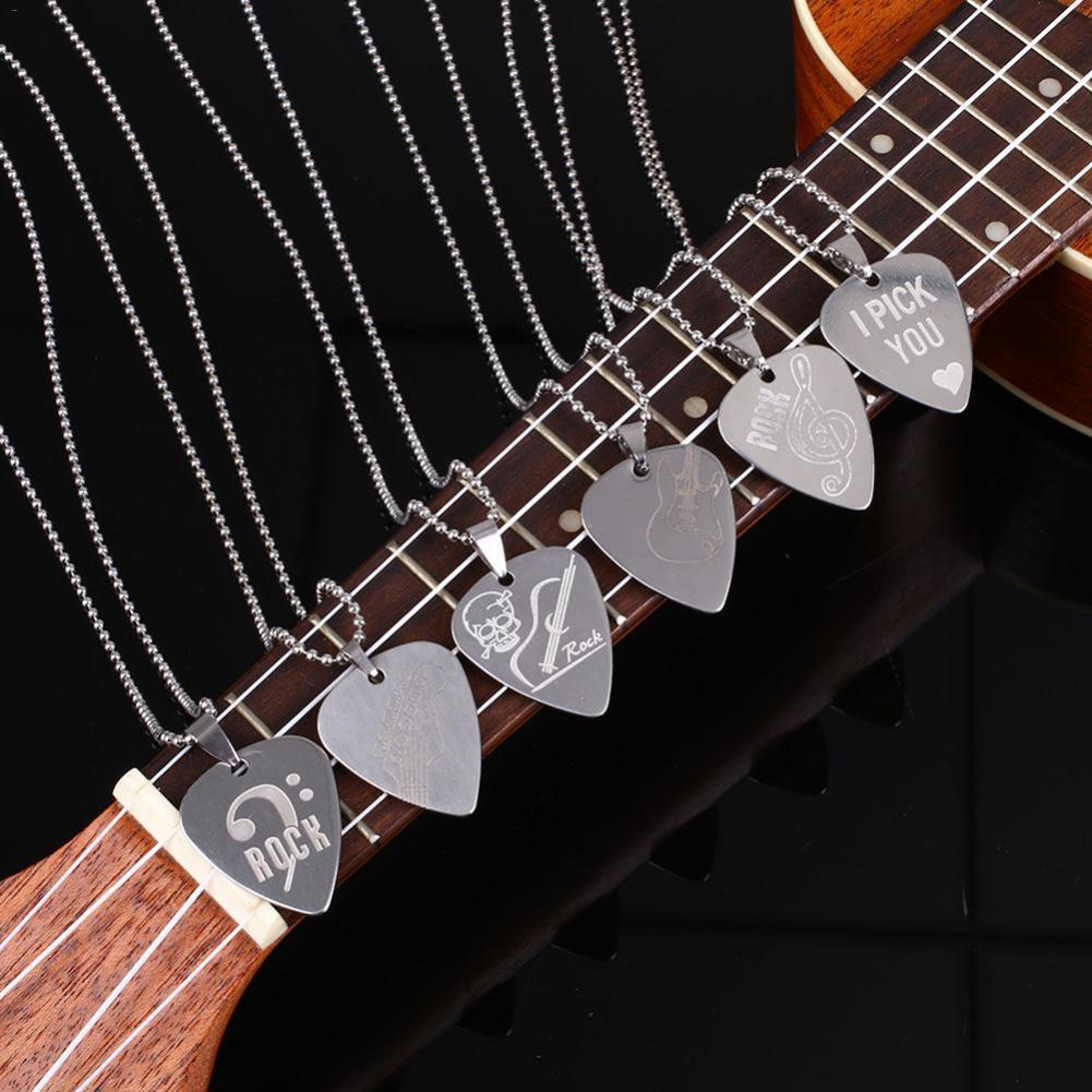 Collar de bajos y Guitarra eléctrica acústica, de Metal, resistente, de acero inoxidable, Delgado, con cadena para Guitarra 1 unidad
