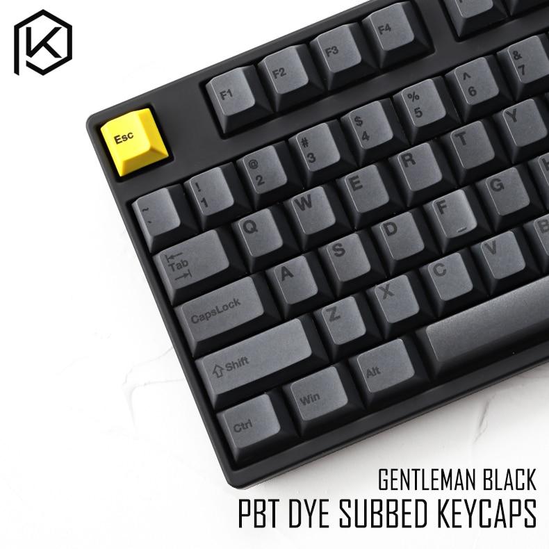 Cherry profile Dye Sub Keycap Set PBT plastic black yellow gentleman for gh60 xd64 xd84 xd96 87 104 razer corsair bm60 bm68