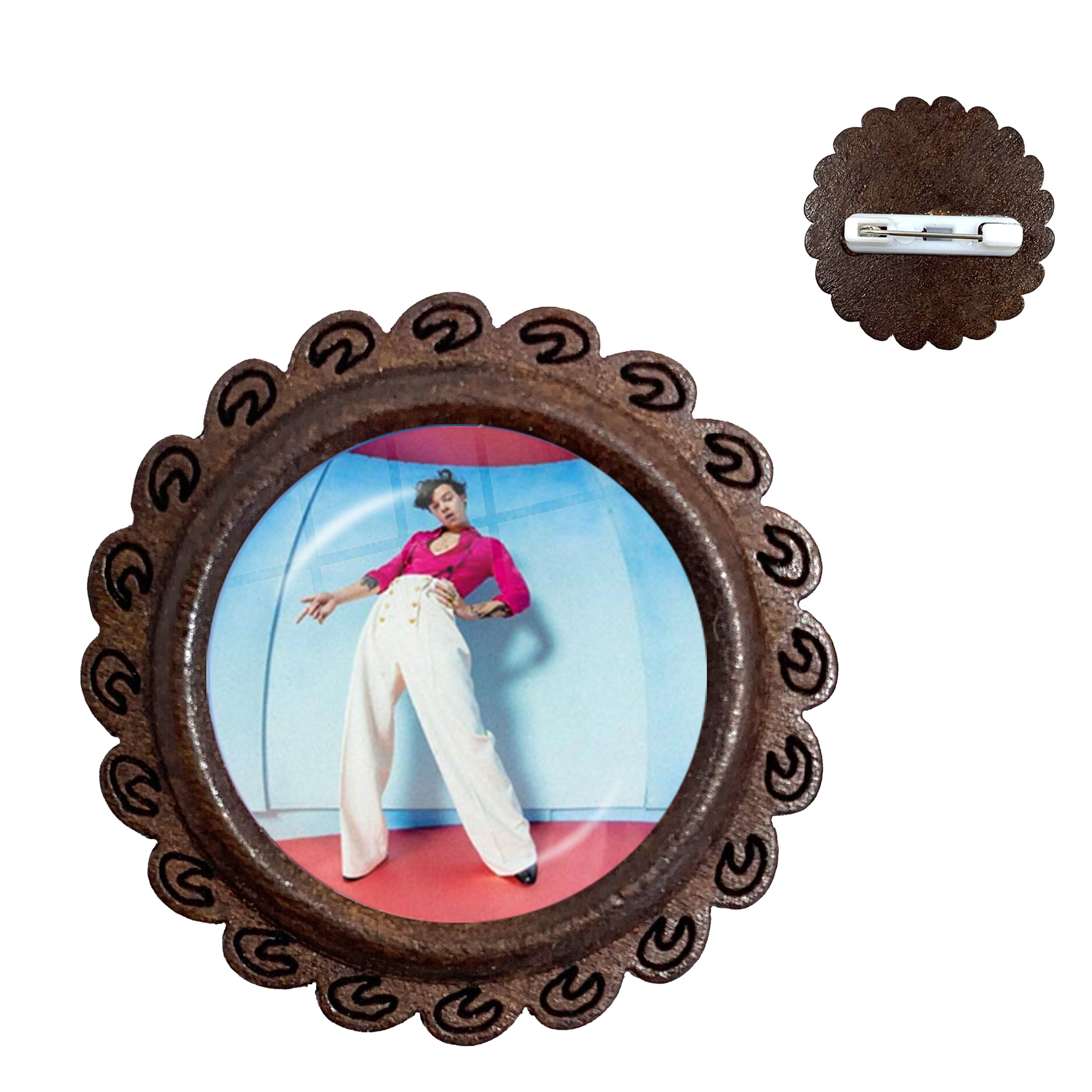 Broches de madera de estilo Harry, Love On Tour 2020, de línea fina, de 20mm, cristal, cabujón, Collar, pines, insignia, joyería para hombres y mujeres, regalo para seguidores