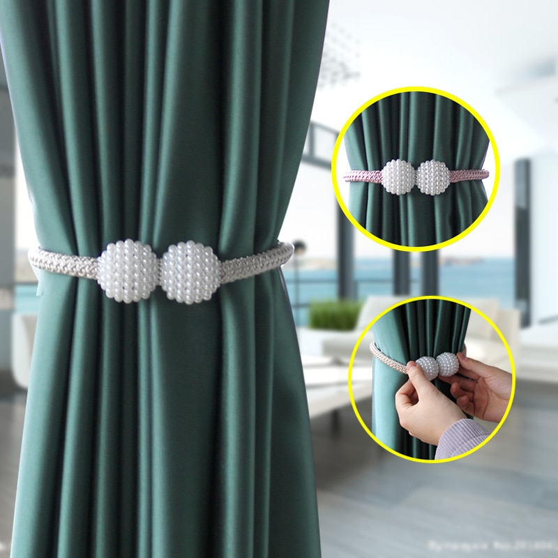 AliExpress - 1Pc Pearl Magnetic Curtain Clip Curtain Holder Tieback Buckle Clips Hanging Ball Buckle Tie Back Curtain Accessories Home Decor