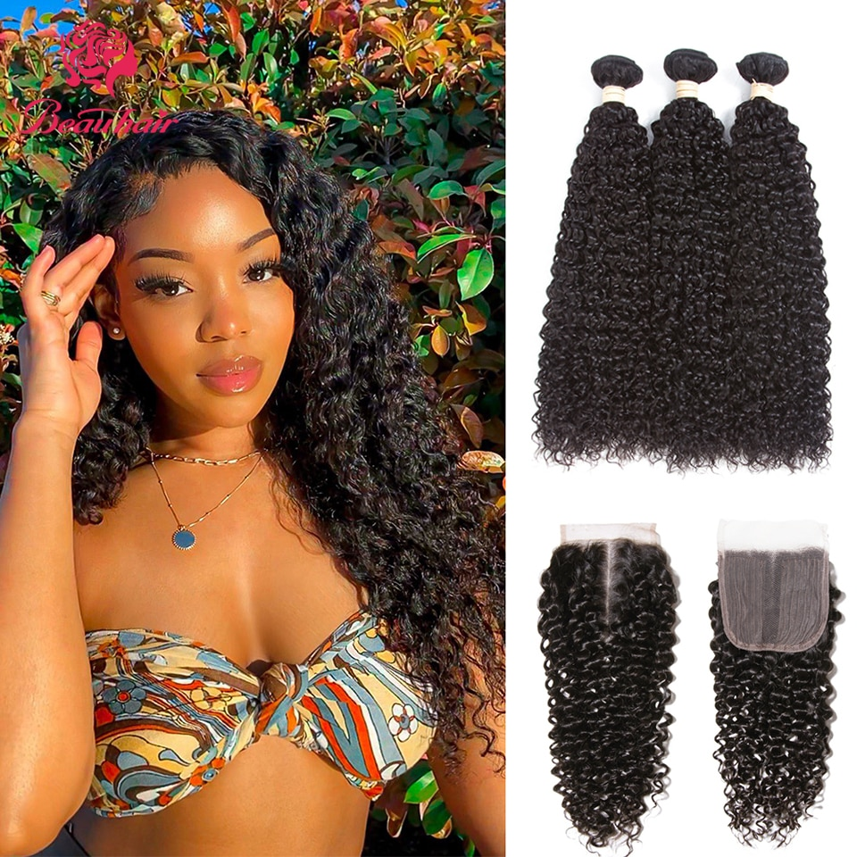 Deep Wave Bundles With Closure Brazilian Kinky Curly Hair 100% Human Hair Weave Bundles With 4x4 Lace Closure Beau Hair