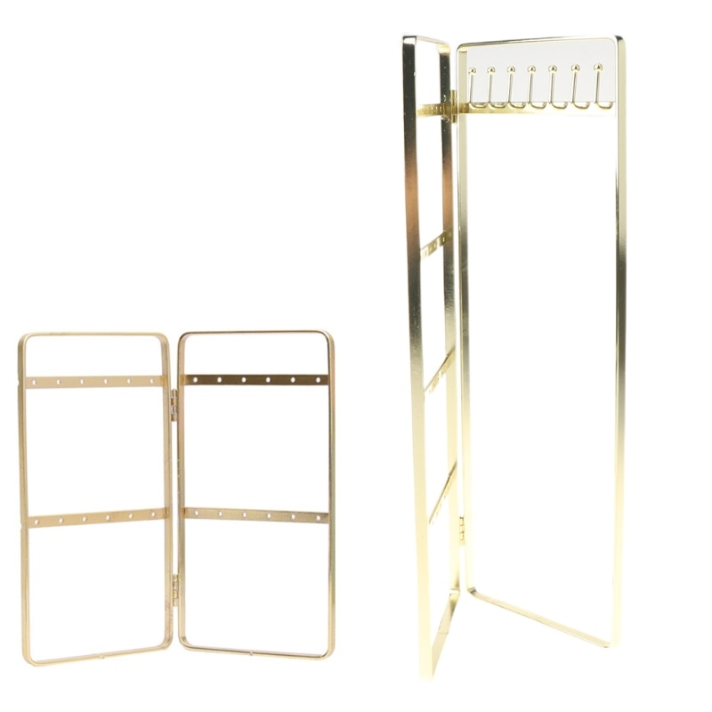 Double Panel Jewelry Display Rack Hanging Earrings Stand Jewelry Organizer