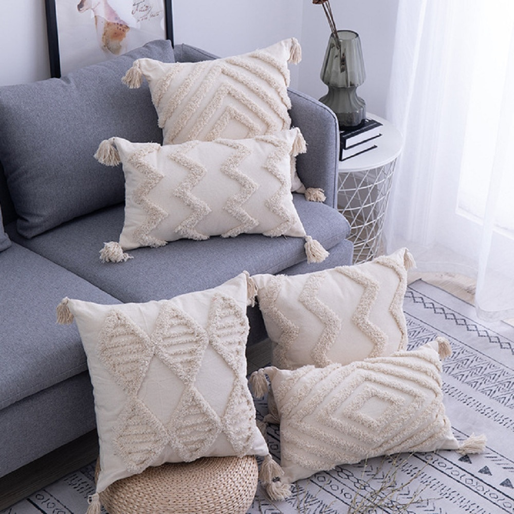 Yingya Boho Cushion Cover Morocco Tufted Tassel Throw Pillow Covers Decorative Macrame Pillow Case for Sofa Bed Couch Nordic
