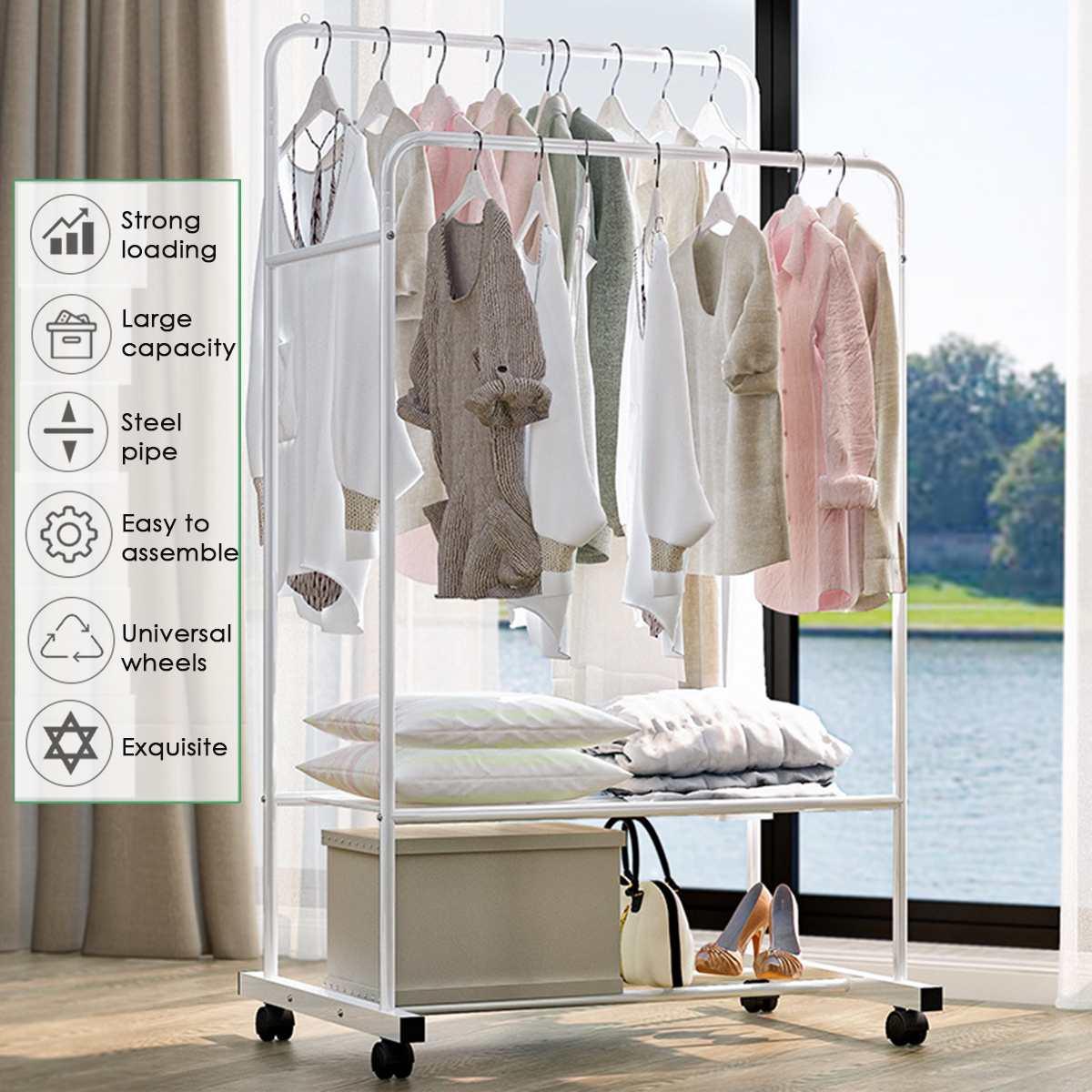 2 Rows White Metal Clothes Hanger Coat Rack Floor Wheeled Hanger Storage Wardrobe Clothing Drying Racks With Shoes Garment Shelf