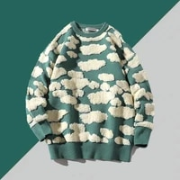 2021 men sweaters autumn new original 3d cloud pattern loose casual couple sweater mens pullover round neck thick cotton knitted