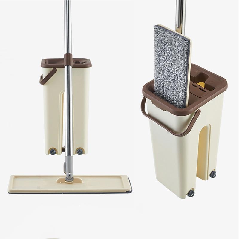 Fregona plana y Manos libres de cubo para escurrir, limpieza de suelo, uso en seco o mojado con almohadillas de microfibra