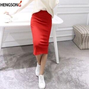 Spring Summer Bodycon Skirts Women Faldas Split Skirt Midi Slim Saias Pencil Skirts For Women Female Knitted Skirt Women's