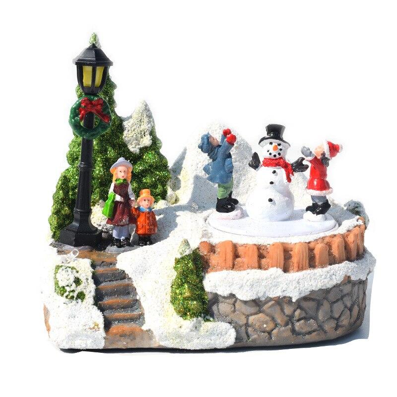 عيد الميلاد الراتنج الحرف عيد الميلاد قرية مضيئة الموسيقى منزل صغير ثلج شجرة LED أضواء هدية عيد ديكور المنزل الحلي
