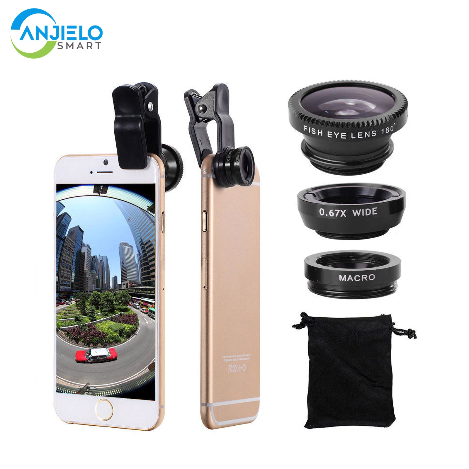 AliExpress - 360 Degree Rotate Shark Tail Shape Clip Wide Angle Macro Fisheye Lens 3 in 1 Cell Phone Camera Lens Kit for Mobile Phones Iphone