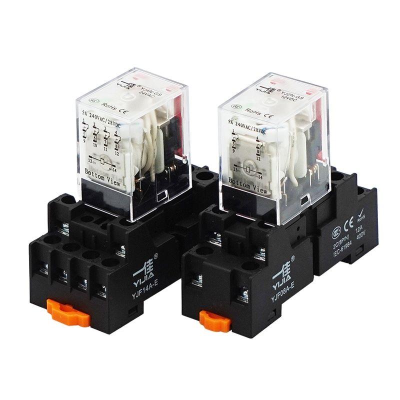 10 قطعة/الحزمة الصغيرة المتوسطة تتابع YJ4N-GS القدم DC12V DC24V 220 فولت
