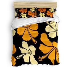 Hibiscus housse de couette fleurs tropicales   Plante jaune Orange, ensemble de literie 2-3-4 pièces, draps de lit, taies doreiller, ensemble de housse