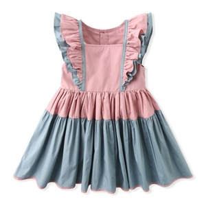 Dress 2021 Summer Dresses Kid Clothing Lotus Leaf Sleeve Stitching Color Dresses For Girls Princess Dress Evening Dresses