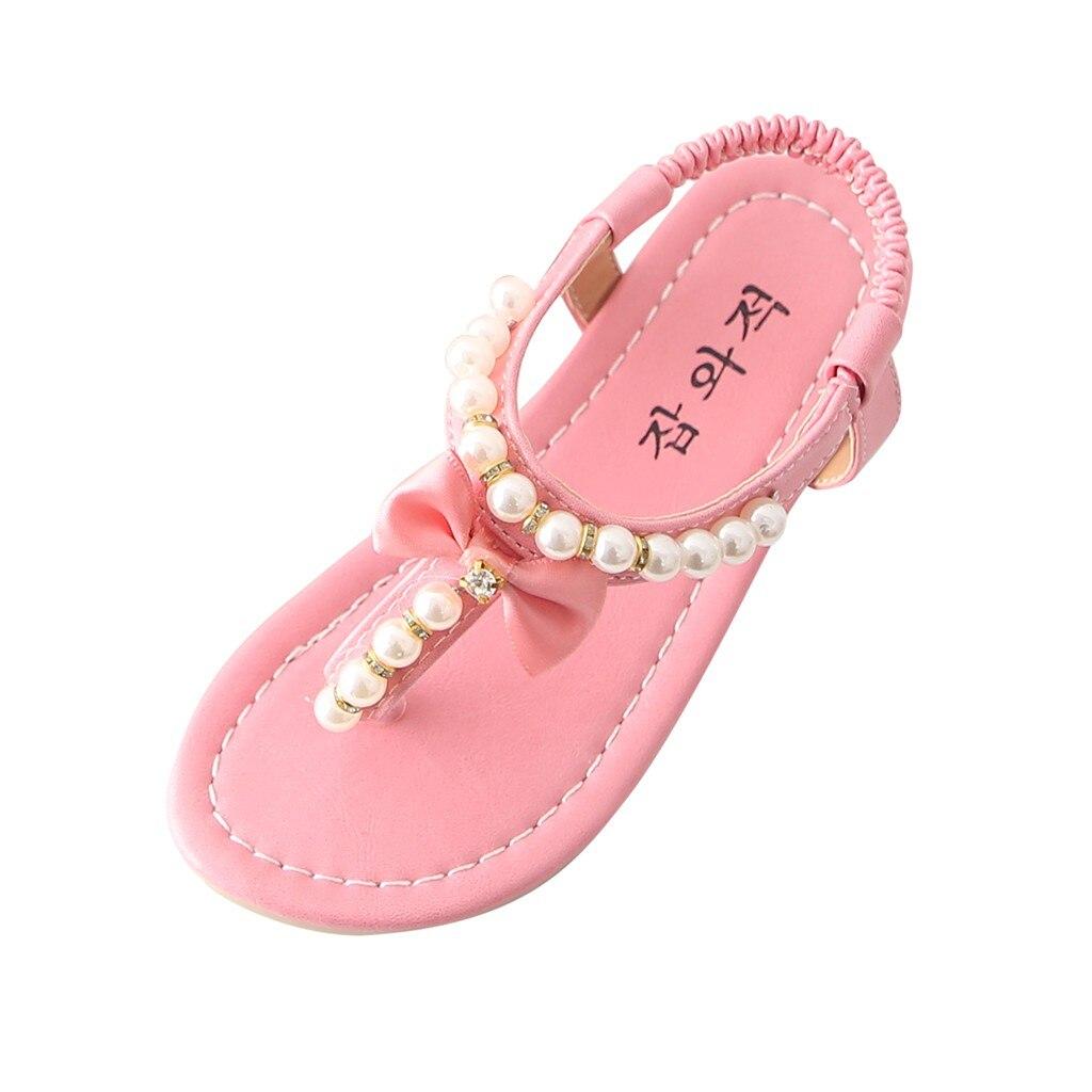 2021 New Summer Sandals Toddler Infant Kids Baby Girls Bowknot Pearl Pinch Princess Beach Shoes Children Girl