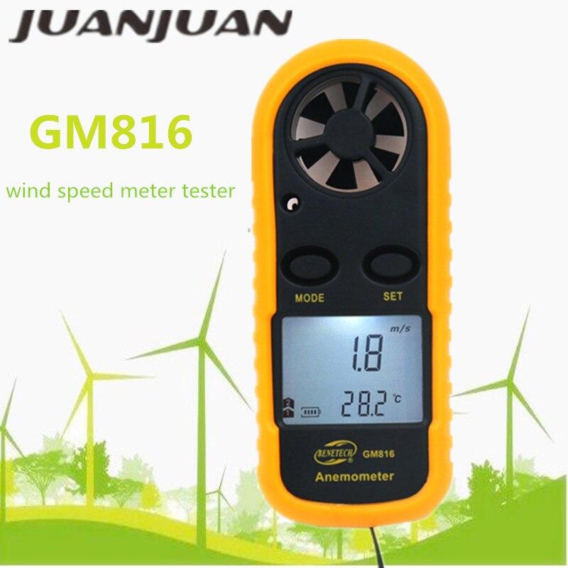 GM816 Anemómetro Digital velocidad del viento Mini velocidad del aire Temperatura del flujo del aire con la retroiluminación LCD medidor de velocidad del viento 40% de descuento