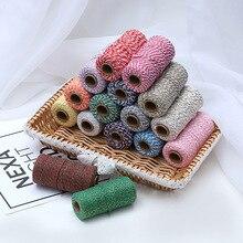 1 rolki 100m 25 kolorów sznurek bawełniany sznurki pakowania projektów rzemieślniczych ręcznie boże narodzenie wystrój domu prezent do szycia DIY liny rzemiosło