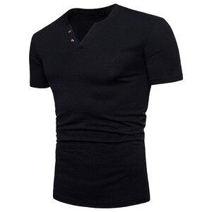 summer  Cotton  Short Sleeve T-Shirt Men's Brand Fashion Casual Slim Fit V Neck Mens Summer Tops Tees