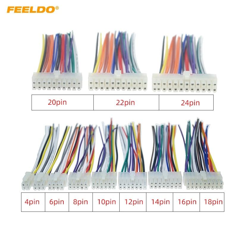 Conector Universal del arnés del cable del coche del FEELDO 4Pin-18Pin en el coche DVD CD Radio adaptador de enchufe del cable estéreo # MX5697