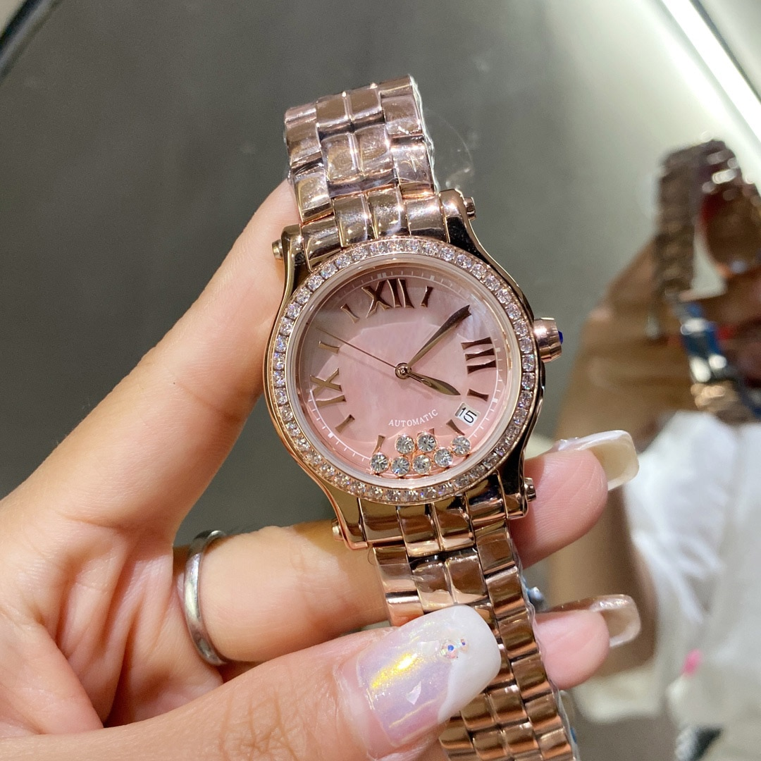 Hot selling famous European and American brands luxury ladies watches happy stone casual fashion quartz movement ladies watches