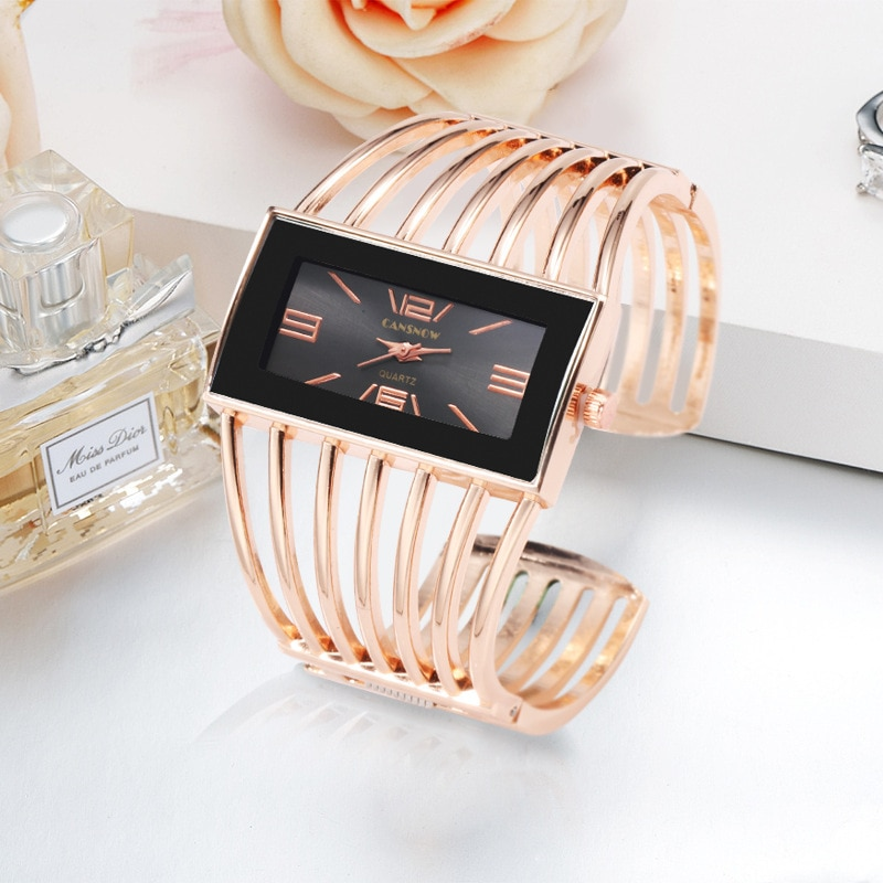 Rectangle Big Watch Women Hollow Out Wide Bangle Luxury Bracelets Rose Gold Quartz Wrist Watches For Women Clock Ladies Dresses enlarge