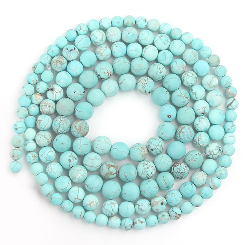 aliexpress.com - 4-12mm Natural Stone Beads Matte Dull Polish Green Turquoises Howlite Beads for Jewelry Making DIY Bracelet Minerals Beads
