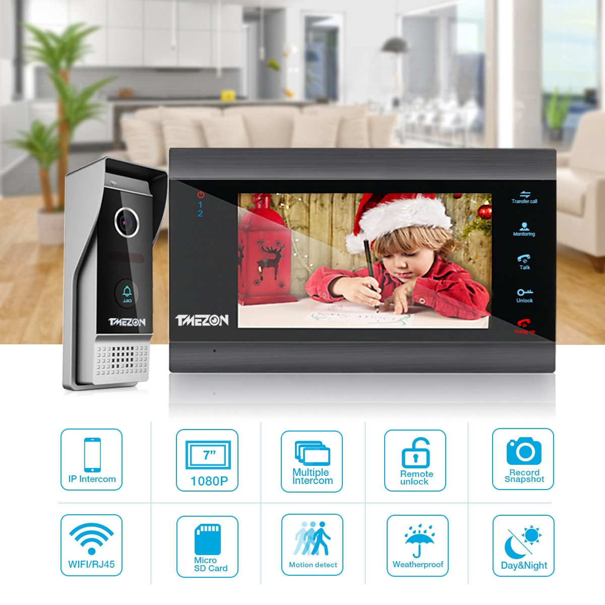 TMEZON 7 Inch 1200tvl Wireless/Wifi Smart IP Video Door Phone Intercom System Entry with 1x1200TVL Wired Door Camera enlarge