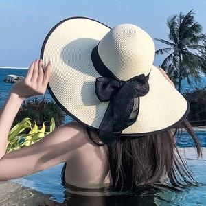 Y264 Beach Sun Hat Women Summer Seaside Outings Big Brim Sunscreen Sunshade Vacation Wild Sandals
