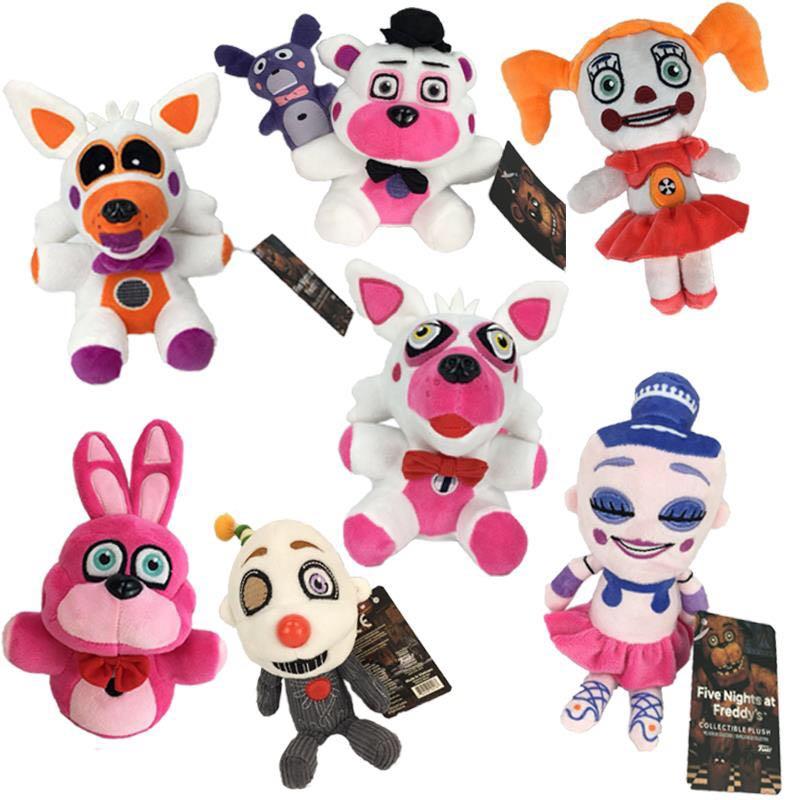 7 Stks/set 18Cm Fnaf Pluche Speelgoed Vijf Nachten Op Freddy Freddy Beer Foxy Bonnie Chica Clown Ballora Zachte gevulde Doll Voor Kid Gift