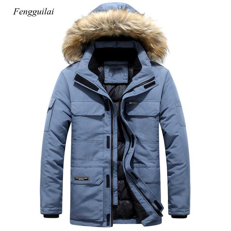 Зимние мужские меховые теплые толстые хлопковые парки со множеством карманов, с капюшоном, мужские повседневные модные теплые пальто, разм...