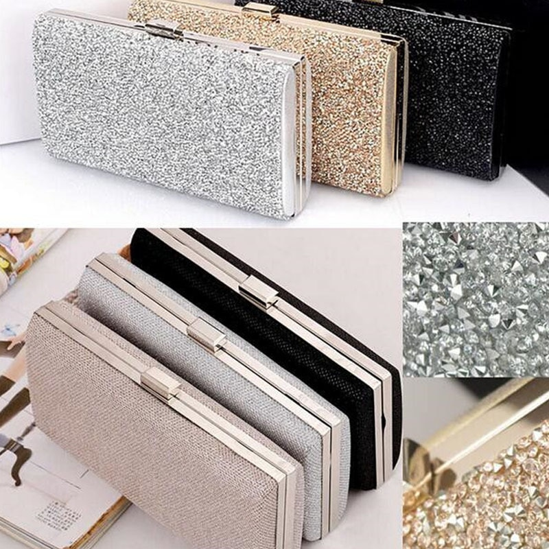 Women Evening Clutch Bag Diamond Sequin Clutch Female Crystal  Clutch Wedding Purse Party Banquet Black/gold Silver Two Chain sparkling sequins ladies wedding clutch bags fashion women gold silver evening bag party evening envelope clutch bag wallet tote
