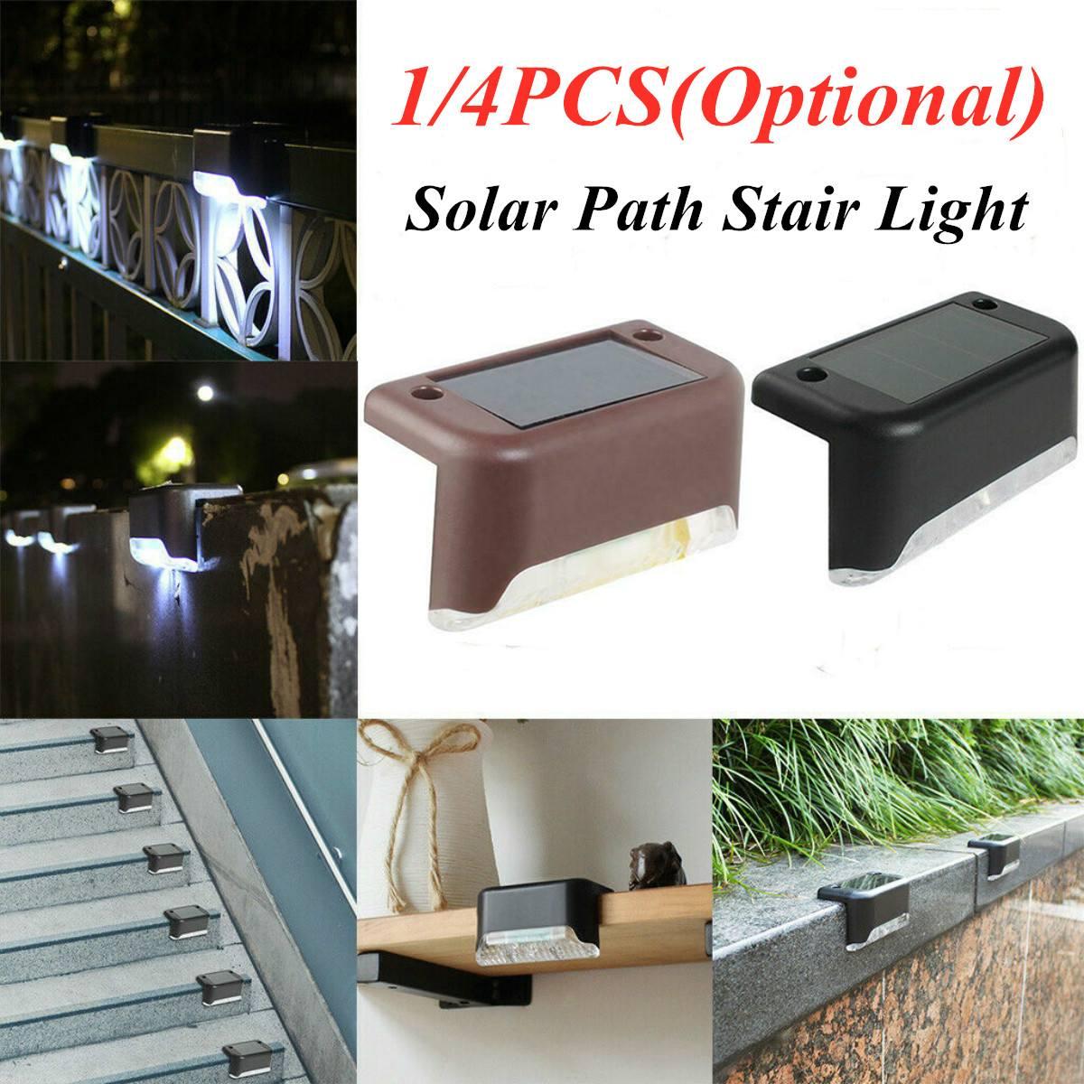 1/2/4 pces solar deck luzes cerca da escada conduziu a lâmpada ao ar livre caminho pátio ip65 impermeável branco brilhante durável abs solar deck luz
