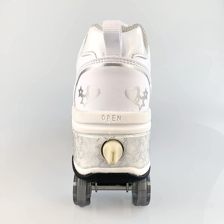 Hot Shoes Casual Sneakers Walk+Skates Deform Wheel Skates for Adult Men Women Unisex Couple Childred Runaway Skates Four-wheeled enlarge