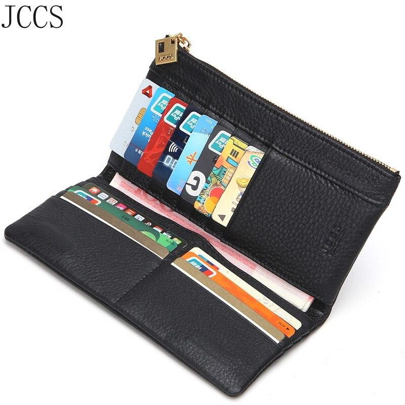 JCCS en cuir véritable concepteur pli portefeuilles célèbre marque femmes portefeuille mode argent sac dames de luxe longue sac à main concepteur portefeuille