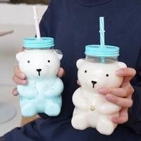 550ml cartoon cute tulip bear water bottle creative heat resistant clear glass juice milk water cup kids sippy cup with straw