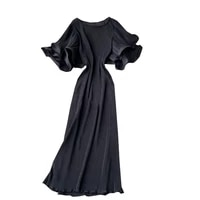 2021 new spring summer women double layer ruffles speaker sleeve loose long dress sweet solid color pleated dress