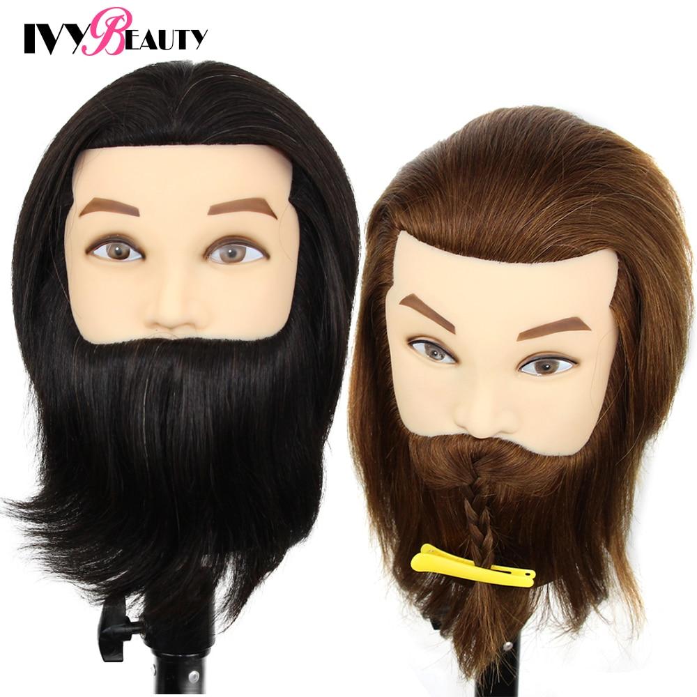 100% Human Hair Mannequin Head Male Barber Hairdresser Manikin Head Training Doll Head For Beauty Hairdresser Practice CuttIing