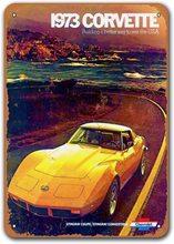 1973 Corvette Alten Auto Zinn Zeichen, sisoso Vintage Metall Plaques Poster Mann Cave Pub Retro Wand Decor 8x12 zoll