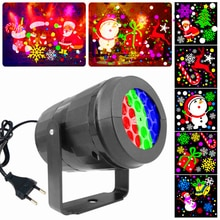 Christmas Led Projection Light 16 Pattern Colorful Rotating Projector 4W Stage Light Holiday Party S