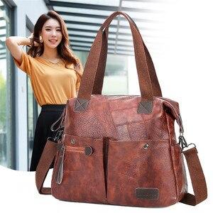 Women Tote Shoulder Bag Multi-pocket Casual Large Capacity PU Leather Ladies Handbag Messenger Bag Soft Shopping Crossbody Bag