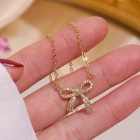 exquisite romantic 14k real gold bowknot pendant necklace for women high quality charming temperament jewelry chain aaa zircon