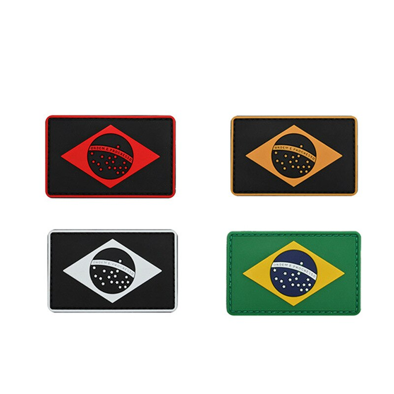 Pvc Brasil país Parches de bandera parche bordado apliques insignias