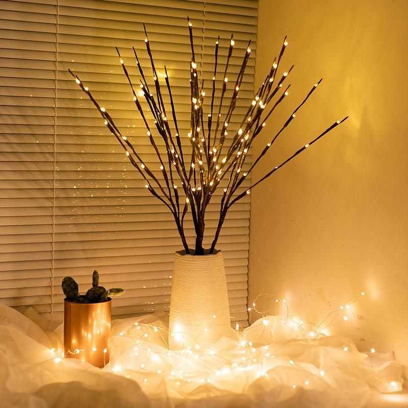 Nouvel an 20 LED Simulation saule arbre branche lumière chaîne bricolage fête décoration décorations de noël pour la maison noël noël Navidad