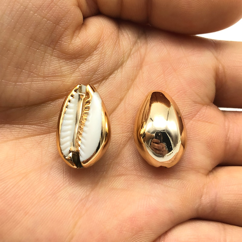 10 Uds charm cowrie Cuentas de concha conexión dorada para la fabricación de joyas de moda DIY pulsera hecha a mano collar Accesorios