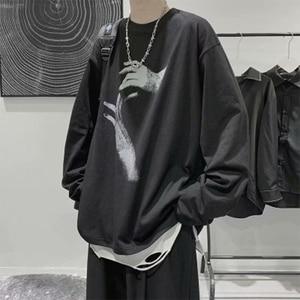 Spring Autumn New Tshirt Men Fashion Personality Print T-shirts Casual Long Sleeve Loose Men's Tshirts Streetwear M-5XL