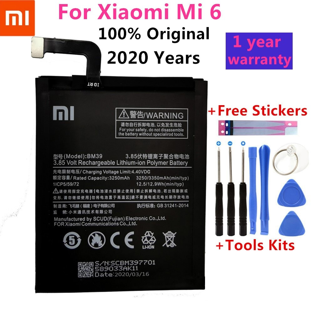 Xiao-batería Original de teléfono Mi BM39, para Xiaomi Mi 6, Mi6, batería de repuesto de alta capacidad de 3250mAh, paquete minorista de herramientas gratuitas