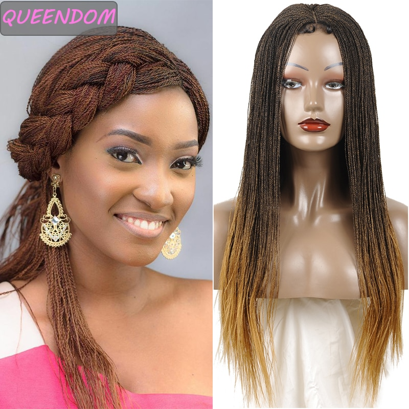 30 Inch Ombre Braided Wigs Synthetic Lace Front Wig Straight Senegalese Twist Braiding Hair Blonde Braid Lace Wig for Afro Women