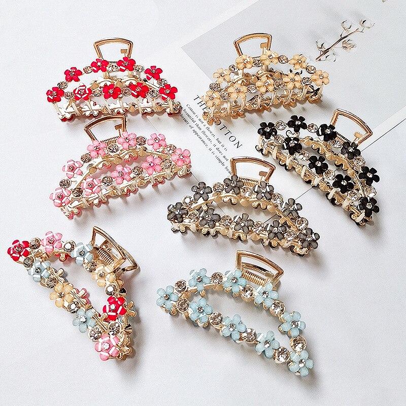 1 Uds pinzas de Metal geométrico para el pelo pinzas para el pelo estilo cangrejo pinzas cuadradas de diamantes de imitación para el pelo estilo CANGREJO