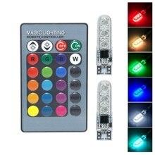 العالمي T10 RGB LED 5050 SMD سيارة التخليص أضواء 12 فولت W5W إسفين الجانب السيارات الذيل مصباح وقوف السيارات مع جهاز التحكم عن بعد