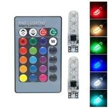 Универсальный T10 RGB светодиодный 5050 SMD Габаритные фонари для автомобиля 12V W5W, на танкетке, с боковой авто хвост, сигнализирующий фонарь с дист...