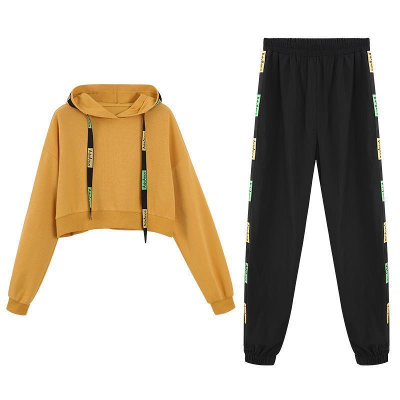 Conjunto deportivo de dos piezas para mujer, suéter corto con capucha de otoño, estilo occidental, pantalones de harén adelgazantes, traje suelto Casual